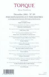 Psychanalystes Et Psychiatres N 89 2004 - 4ème de couverture - Format classique