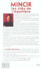 Mincir, Les Cles De L'Equilibre - 4ème de couverture - Format classique