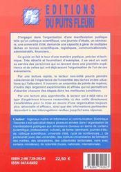 Guide pratique a l'usage des organisateurs de colloques, journees d'etude, seminaires... - 4ème de couverture - Format classique