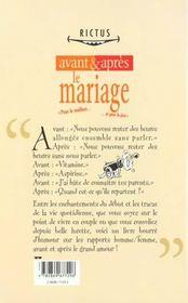 Rictus t.4; avant et après...le mariage - 4ème de couverture - Format classique