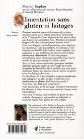 Alimentation sans glutten ni laitages - 4ème de couverture - Format classique