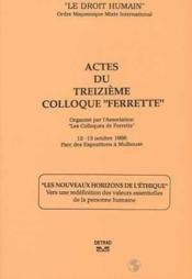 Actes du treizieme colloque ferrette - Couverture - Format classique