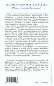 De L'Education Intellectuelle ; Heritage Et Actualite D'Un Concept - 4ème de couverture - Format classique