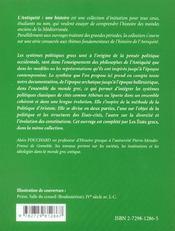 Les Systemes Politiques Grecs L'Antiquite Une Histoire - 4ème de couverture - Format classique