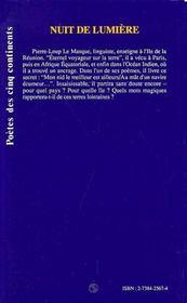 Nuit De Lumiere - 4ème de couverture - Format classique