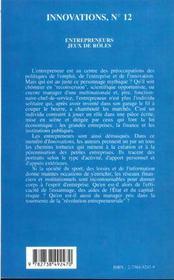 Revue Innovations N.12 ; Entrepreneurs ; Jeux Et Rôles - 4ème de couverture - Format classique