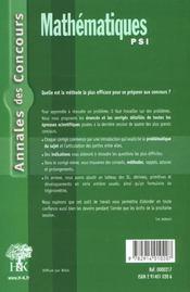 Annales H&K 2001 - Mathematiques Psi - 4ème de couverture - Format classique