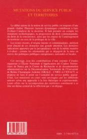 Mutations du service public et territoires - 4ème de couverture - Format classique