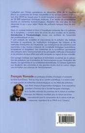Introduction a l'écotoxicologie ; fondements et applications - 4ème de couverture - Format classique