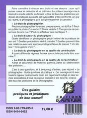 Le photographe. guide pratique et juridique pour le professionnel et l'amateur - 4ème de couverture - Format classique