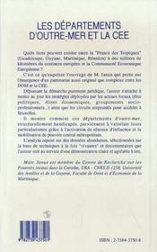 Les Departements D'Outre-Mer Et La Cee - 4ème de couverture - Format classique