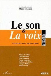Le son & la voix ; entretien avec Michel Chion - Couverture - Format classique