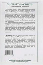 Valeurs Et Associations ; Entre Changement Et Continuite - 4ème de couverture - Format classique