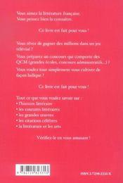 La Litterature Francaise En 1000 Questions Qcm - 4ème de couverture - Format classique