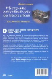 Histoires Mysterieuses Des Tresors Enfouis - 4ème de couverture - Format classique