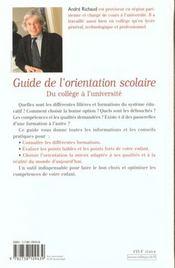 Guide De L'Orientation Scolaire - 4ème de couverture - Format classique