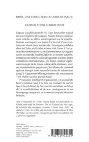 Journal d'une combattante - 4ème de couverture - Format classique