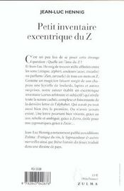 Petit Inventaire Excentrique Du Z - 4ème de couverture - Format classique