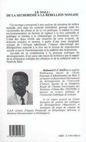 Le Mali : de la sécheresse à la rébellion nomade - 4ème de couverture - Format classique