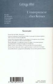 L'entrepreneur chez Keynes - 4ème de couverture - Format classique
