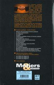 Fonction publique ; guide des metiers cles et des concours ; faire carriere dans la fonction publique - 4ème de couverture - Format classique