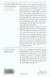 Le Collier De Neandertal - 4ème de couverture - Format classique
