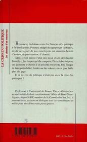 La Crise Du Politique ; Les Chemins D'Un Renouveau - 4ème de couverture - Format classique