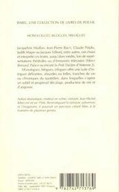Monologues, Bilogues, Trilogues Babel 286 - 4ème de couverture - Format classique