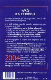 Pacs, Le Guide Pratique - 4ème de couverture - Format classique