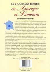 Noms De Famille En Auvergne Et Limousin - 4ème de couverture - Format classique