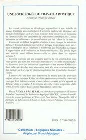 Sociologie Du Travail Artistique Artistes Et Creativit - 4ème de couverture - Format classique