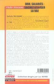Drh, Salaries : Sachez Utiliser La Vae. Vade-Mecum - 4ème de couverture - Format classique