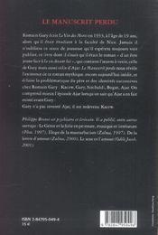 Le Manuscrit Perdu Gary / Ajar - 4ème de couverture - Format classique