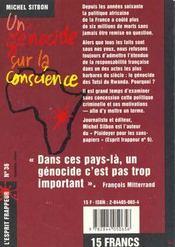 Un Genocide Sur La Conscience - 4ème de couverture - Format classique