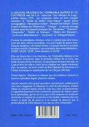 Manuel pratique du vénérable maître et du couvreur - 4ème de couverture - Format classique