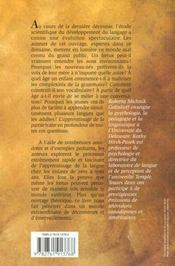 L'Apprentissage De La Parole ; La Magie Et Les Mysteres Du Langage Pendant Les Trois Premieres Annees De La Vie - 4ème de couverture - Format classique