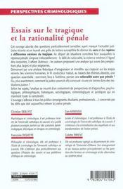 Essais sur le tragique et la rationalite penale - 4ème de couverture - Format classique