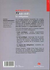 Memento Dt Civil : Obligations - 4ème de couverture - Format classique