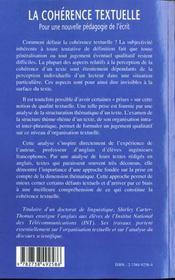La Coherence Textuelle ; Pour Une Nouvelle Pedagogie De L'Ecrit - 4ème de couverture - Format classique