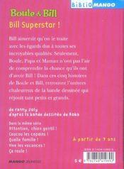 Boule et Bill ; Bill superstar ! - 4ème de couverture - Format classique