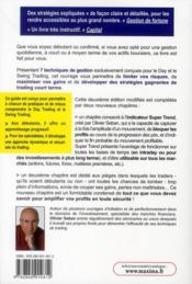 Techniques et stratégies de day trading et de swing trading - 4ème de couverture - Format classique