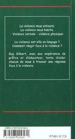 La Violence, Un Appel - 4ème de couverture - Format classique