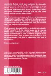 La Cuisine De Dartagnan 60 Recettes Dalexandre Dumas Mises A La Portee Des Tables Daujourdhui - 4ème de couverture - Format classique