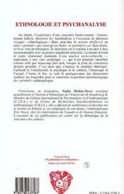 Ethnologie Et Psychanalyse ; L'Autre Voie Anthropologique - 4ème de couverture - Format classique