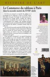 Le commerce du tableau à Paris ; dans la seconde moitié du XVIII siècle - 4ème de couverture - Format classique