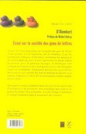 Essai sur la societe des gens de lettres - 4ème de couverture - Format classique