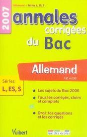 Annales corrigées du bac ; allemand lv1 lv2 ; terminale l, es, s ; 2007 - Intérieur - Format classique