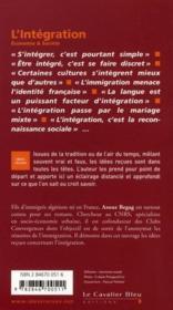 L'intégration - 4ème de couverture - Format classique