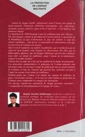 La protection de l'enfant maltraité ; protéger, aider, punir et collaborer - 4ème de couverture - Format classique