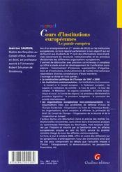Memento Institutions Europeennes - 4ème de couverture - Format classique